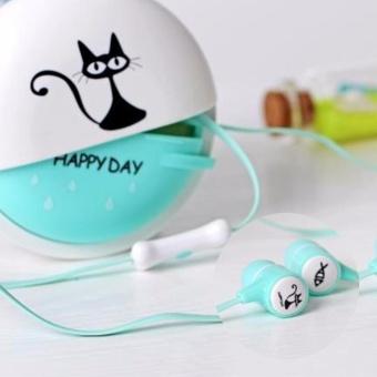 Detail Gambar Produk Moonar For Phone Mp3 Mp4 Girl Kid Child Student Gift Cute Cat In-ear Stereo Earphone With Headphone Case - intl Terbaru