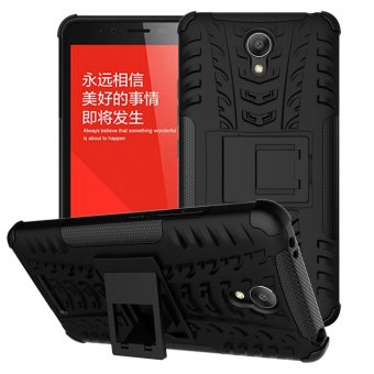 Mooncase Case For Xiaomi Redmi Note 2 Detachable 2 in 1 Hybrid Armor Design Shockproof Tough Rugged Dual-Layer Case Cover with Built-in Kickstand Black - ...