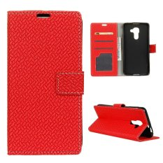 Moonmini Case for BlackBerry DTEK60 Woven Pattern PU Leather Case - Red - intl