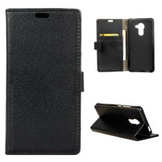 Moonmini Case untuk BlackBerry DTEK60 Kasus Litchi Grain Leather Case Flip Stand Cover-Hitam-Intl