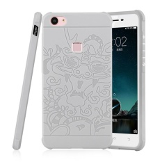 Moonmini for Vivo X6 Plus 3D Dragon Relief Ultra Thin Soft Silicone Rubber Case Shockproof Protective Cover (Light Grey) - intl