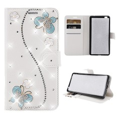Moonmini For ZTE Tempo X N9137 3D Bling Diamond Rhinestones PU Leather Wallet Case Flip Stand Card Slots Cover with Magnetic Closure - intl
