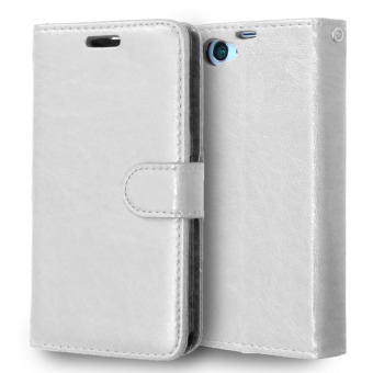 Moonmini PU Leather Stand Wallet with Magnetic Closure Flip Coverfor Sony Xperia Z1 Compact / Z1 Mini (White)
