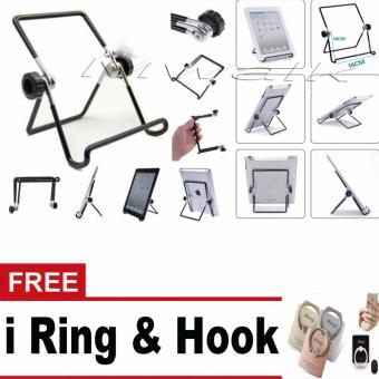 Harga Multi-angle Adjustable Portable Foldable Metal Non-slip StandHolder for iPad Tablet Large Size - intl + iRing Hook