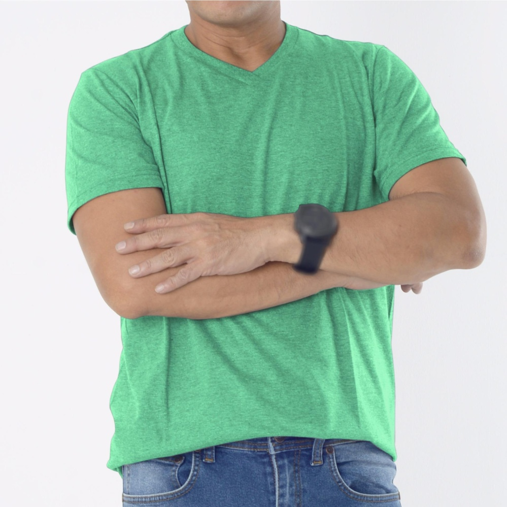 Muscle Fit Kaos Polos T-shirt V-neck Lengan pendek Cotton - Misty Hijau