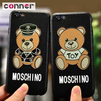 Navy IPhone7 Beruang Hitam Apple ID Casing HP Casing Lunak