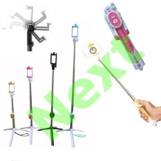 Next Tongsis 3 in 1 Selfie Stick Built In Bluetooth Tripod - Pink
