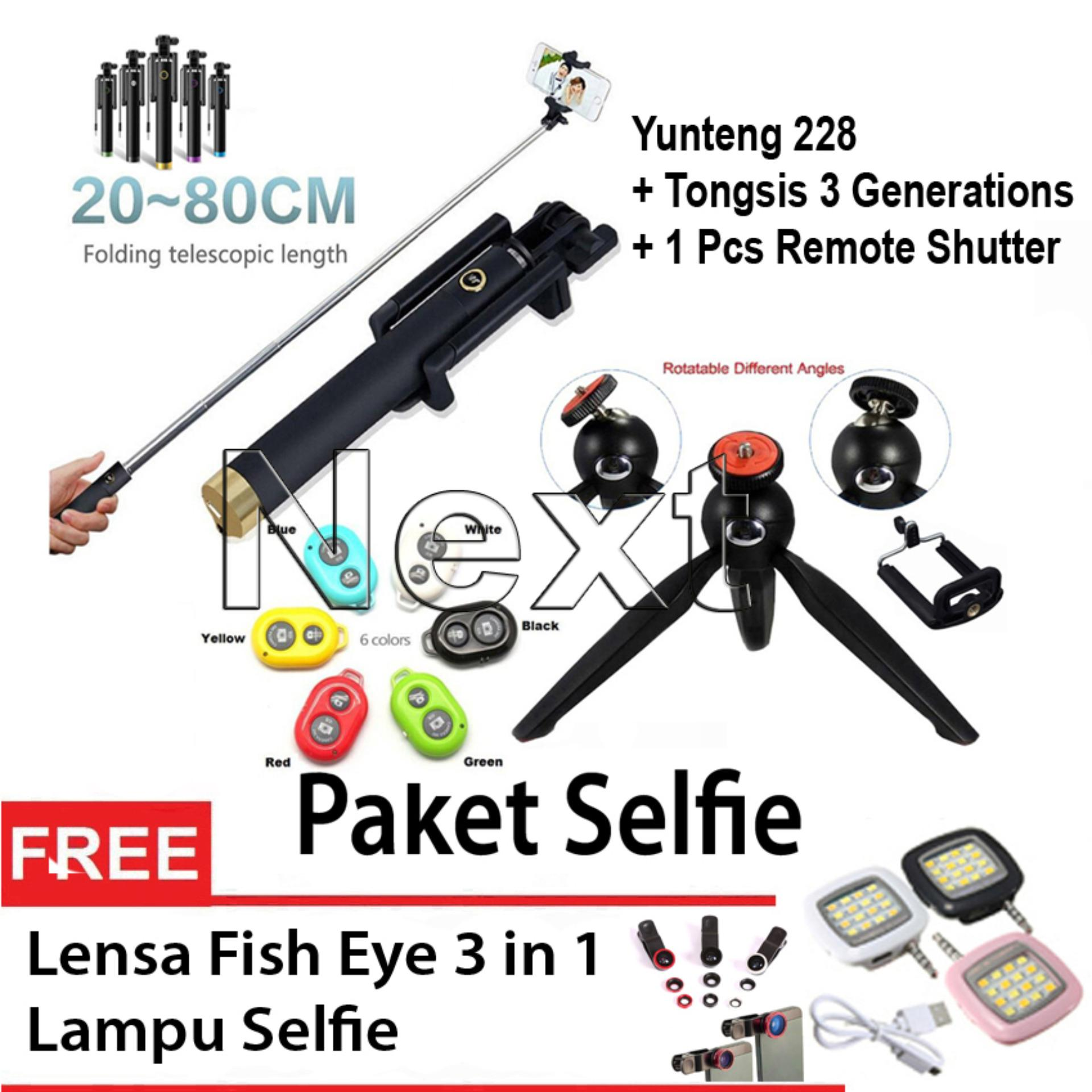Next Tongsis 3 In 1 Selfie Stick Built Bluetooth Tripod Lensa Monopod Way Triway Three Source