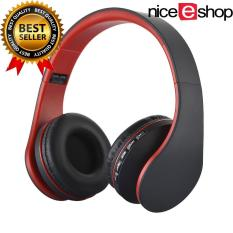 niceEshop Bluetooth nirkabel Stereo Headphone ROPS EDR alat pendengar mikrofon MP3 FM headset untuk ponsel pintar tablet (Hitam + Merah)