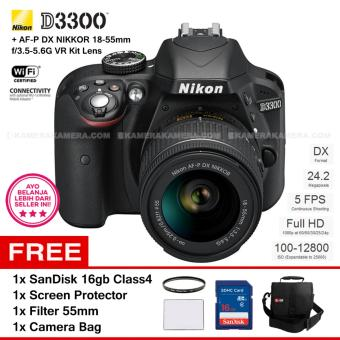 NIKON D3300 (BLACK) + AF-P DX NIKKOR 18-55mm f/3.5-5.6G VR Kit Lens 24.2 MP Full HD + Filter 55mm + SanDisk 16Gb + Screen Protector + Camera Bag