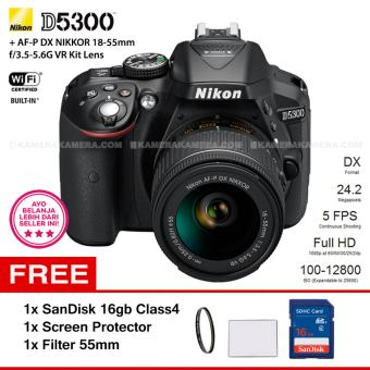 NIKON D5300 (BLACK) + AF-P DX NIKKOR 18-55mm f/3.5-5.6G VR Kit Lens WiFi 24.2MP 5FPS Full HD + Filter 55mm + SanDisk 16Gb + Screen Protector