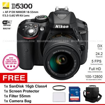 NIKON D5300 (BLACK) + AF-P DX NIKKOR 18-55mm f/3.5-5.6G VR Kit Lens WiFi 24.2MP 5FPS Full HD + Filter 55mm + SanDisk 16Gb + Screen Protector + Camera Bag