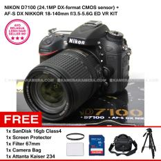 NIKON D7100 (24.1MP DX-format CMOS sensor) + AF-S DX NIKKOR 18-140mm f/3.5-5.6G ED VR KIT + SanDisk 16Gb + Screen Protector + Filter 67mm + Camera Bag + Attanta Kaiser 234