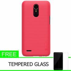 Nillkin For LG K10 2017 Super Frosted Shield Hard Case Original - Merah  + Gratis Tempered Glass