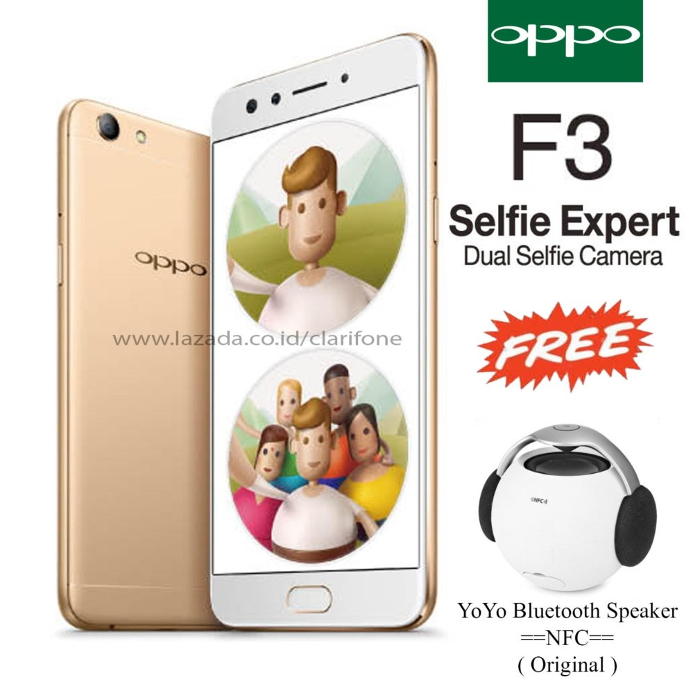 ... Oppo F3 - Dual Selfie Camera - Ram 4GB - Rom 64GB - Free Bluetooth Speaker ...