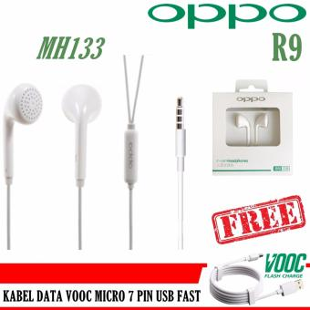 Harga Oppo Handsfree MH133 For Oppo R9 + FREE Kabel Data Oppo VOOC 7 Pin Micro USB Fast