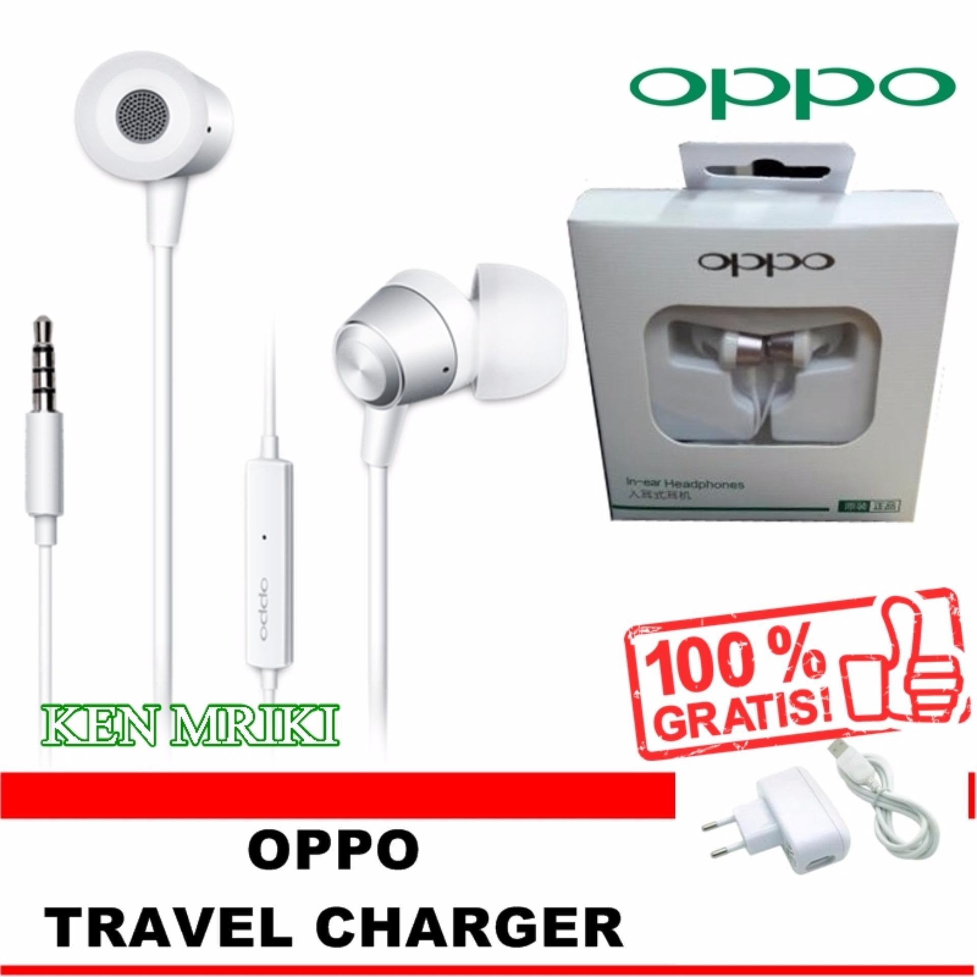 Harga Penawaran Oppo Original Handsfree Mh130 White Earbud Travel Charger Earphones Gratis Chargerwhite