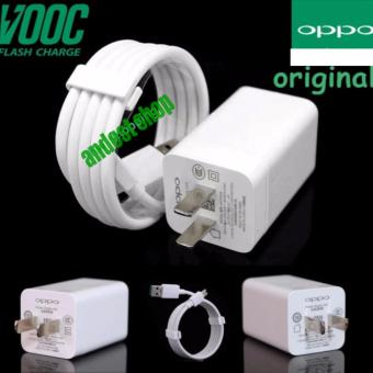 OPPO VOOC Original Travel Charger Fast Charging 5V - 4A Kabel Micro USB Data Cable - Putih