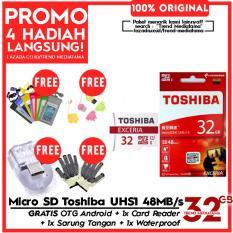 Original 100% Toshiba Micro SD 32GB Exceria UHS-1 Class 10 48Mb/s Free Sarung Tangan + Card Reader + OTG Android + Waterproof