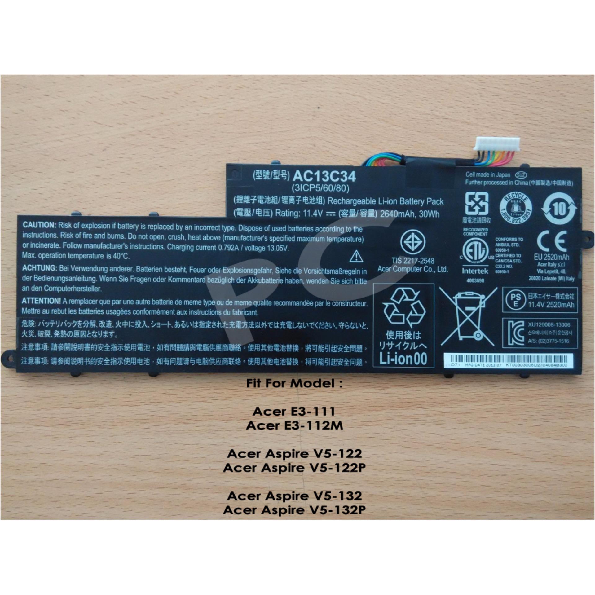 Acer V3 371 V5 122p Tmp236 E3 111 E11 V13 S11 Keyboard Film Baterai Laptop Aspire 431 431g 471 471g 531 Flash Sale Original 122 132 Ac13c34