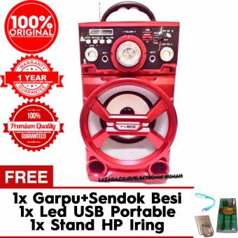 (Original) Fleco Speaker Portable Radio,SD/USB MusicPlayer,karaoke,SD502( MERAH) Gratis Led USB Portable + Sendok danGarpu Besi + Iring Stand Smartphone