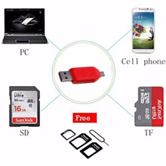 OTG Card Reader for SDHC Micro SD 2 in 1 Merah  Free
