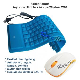 Paket Hemat Keyboard Flexible + Mouse Wireless Advance W10