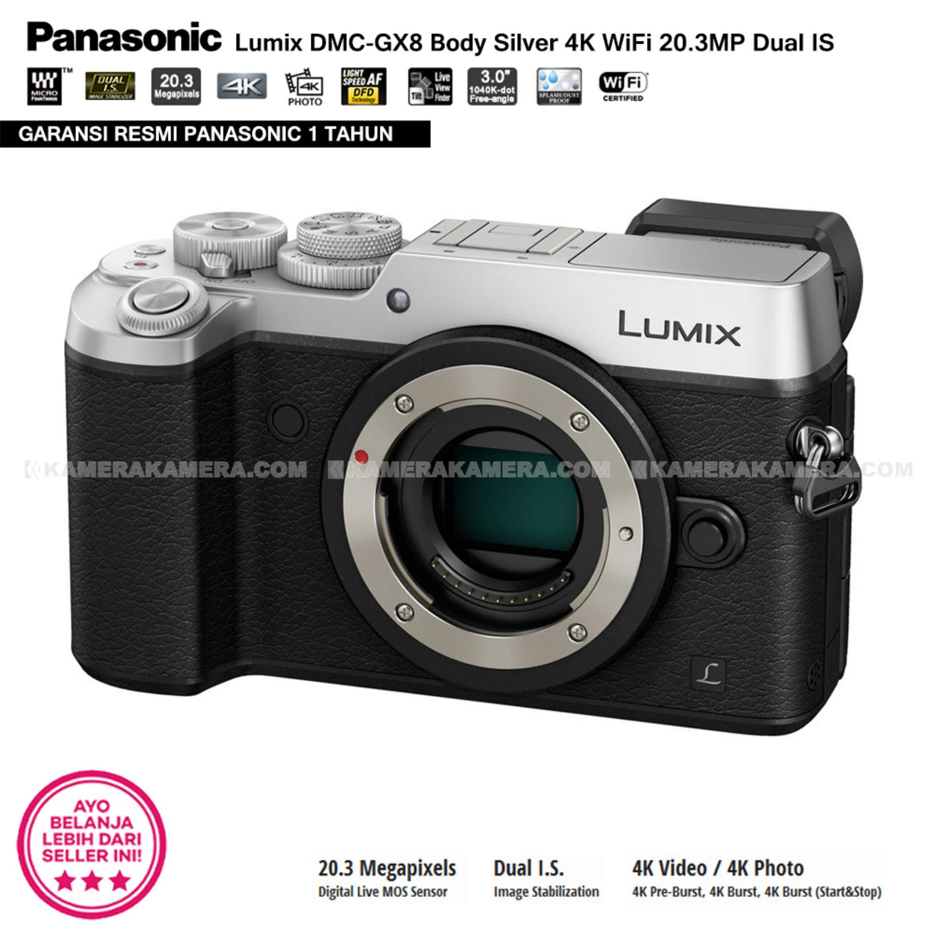 Beli Panasonic Lumix Dmc Gx8 Body Silver 4k Wifi 203mp Dual Is Dc Gf9 Kit G Vario 12 32mm F 35 56 Orange Garansi Resmi