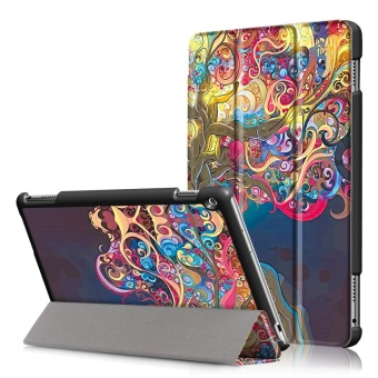 Pattern Printing Tri-fold Leather Flip Cover Shell with Stand for Huawei MediaPad M3 Lite 10 (10.1 Inch) - Beautiful Tree - intl