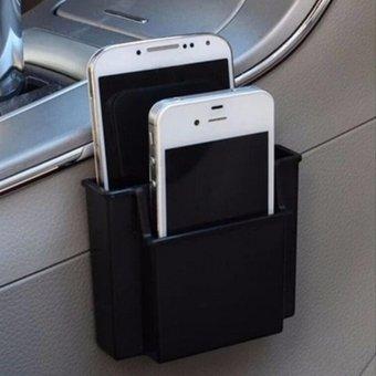 Pegangan ponsel di mobil ponsel Charge kotak pemegang saku Organizer kursi casing penyimpanan hitam 100*30*80mm
