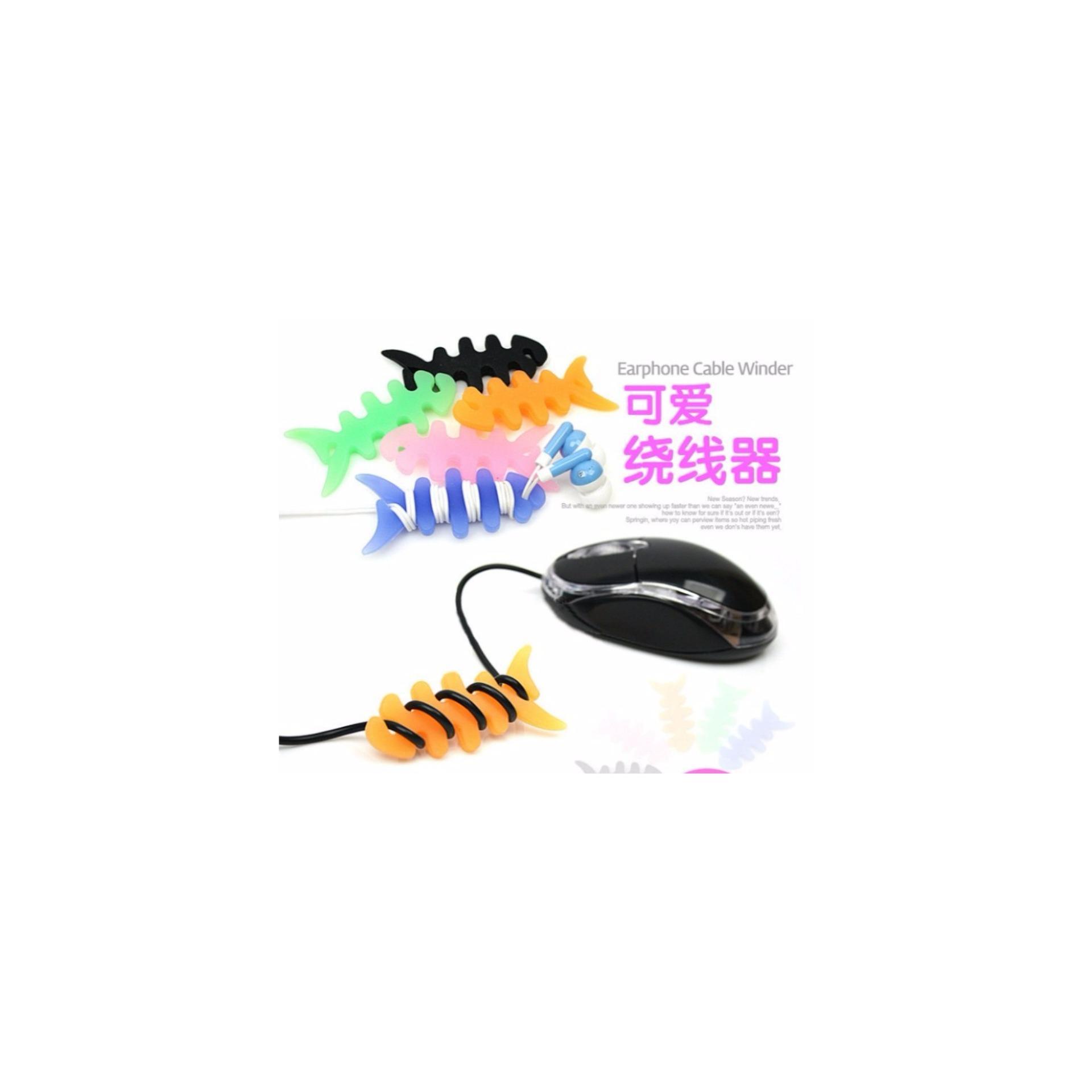 Pengulung Kabel Earphone Bentuk Tulang Ikan Murah Daftar Harga Hhm049 Velcro Pengikat Merapikan