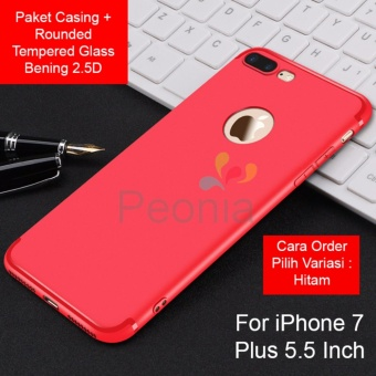 Peonia Anti Fingerprint Premium Quality Grade A Ultraslim Hybrid Case for Iphone 7 Plus 5.5 Inch + Rounded Tempered Glass