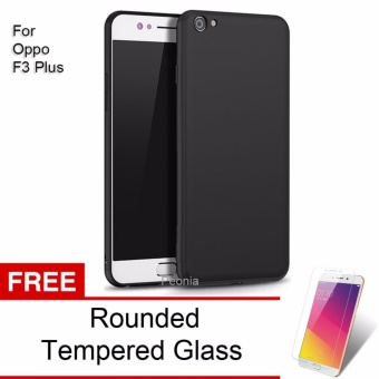 Peonia Anti Fingerprint Premium Quality Grade A Ultraslim Hybrid Case for Oppo F3 Plus (6 Inch) - Hitam + Rounded Tempered Glass