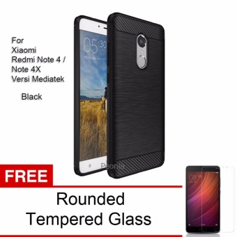 Peonia Carbon Shockproof Hybrid Premium Quality Grade A Case for Xiaomi Redmi Note 4 Versi Mediatek