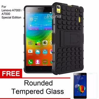 Peonia Kickstand Robotic Case for Lenovo a7000 / a7000 Special Edition - Hitam + Tempered Glass