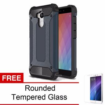 Prime Pro Dark Blue Rounded Tempered Glass Peonia Kingkong Defender Slim Armor Case For Xiaomi Redmi