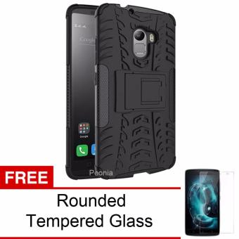 Peonia Lenovo K4 Note Kickstand Defender Case - Hitam + Gratis Tempered Glass