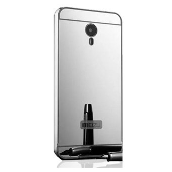 Peonia Mirror Backcase with Metal Aluminium Bumper for Meizu M2 5.0 inch - Silver