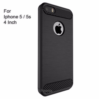 Peonia Premium Quality Carbon Shockproof Hybrid Case for Iphone 5 / 5s / 5 SE 4 Inch - Hitam
