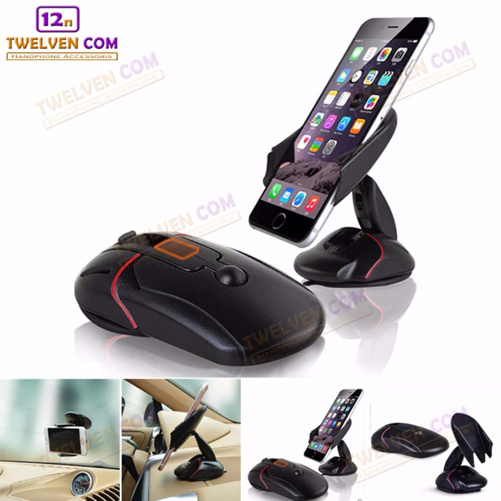 Phone Holder Mouse Car For Dashboard and Windshield - One Touch Holder Open - Hitam