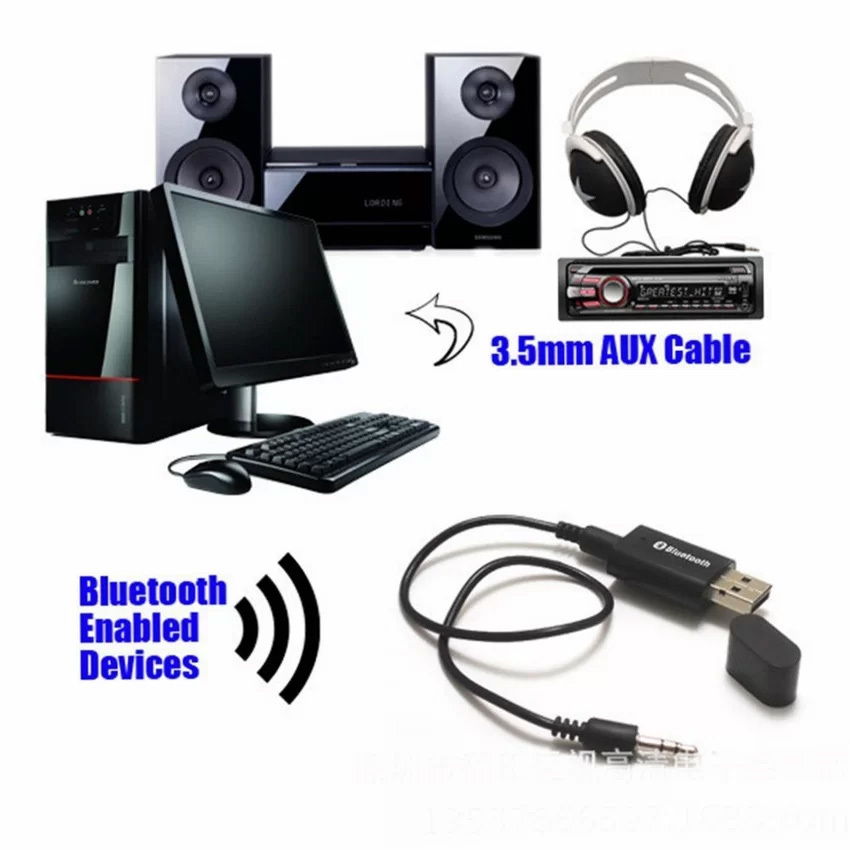 Prime USB Bluetooth 3.5mm Stereo Audio Music Receiver Adapter for Speaker - Hitam ...
