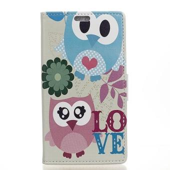 Pola Cetak Stand Dompet Kulit Flip Case untuk Xiaomi Redmi 4X-Owl Pasangan- Intl