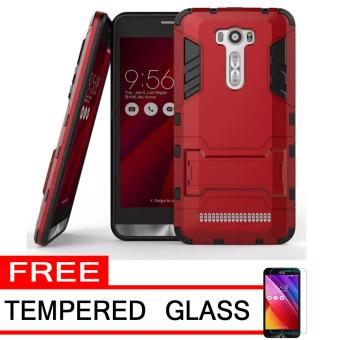 ProCase Shield Rugged Kickstand Armor Iron Man PC+TPU Back Covers for Asus Zenfone 2 Laser ZE500KL/ZE500KG - Red + Free Tempered Glass