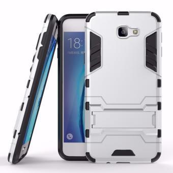ProCase Shield Rugged Kickstand Armor Iron Man PC+TPU Back Covers for Samsung Galaxy J7 Prime - Silver