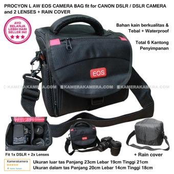 PROCYON L AW EOS CAMERA BAG for DSLR CAMERA and 2 LENSES + RAINCOVER Compatible with Canon DSLR Nikon Panasonic Sony FujifilmSamsung Olympus