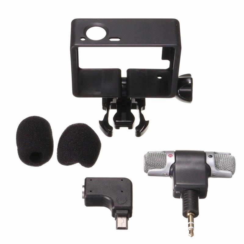 ... Professional Audio Recording External Stereo Microphone Mic withAdapter + Stand Frame Housing for Gopro Hero 3 ...