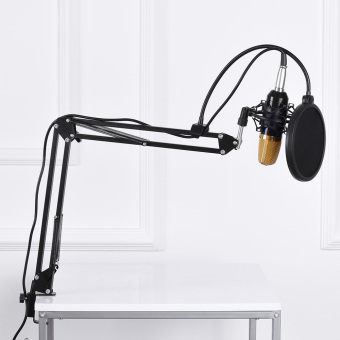 Professional Broadcasting Studio Recording Condenser Microphone Mic Kit with Shock Mount Adjustable Suspension Scissor Arm Stand Mounting Clamp Pop Filter - intl