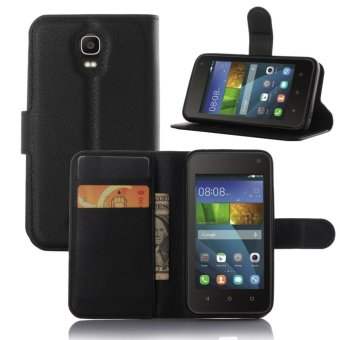 PU Leather Flip Cover Case For Huawei Y336 (Black) - intl