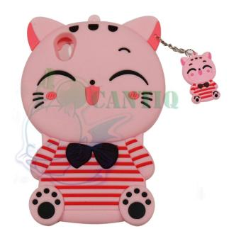 QCF Silikon Case 3D Oppo Neo 9 A37 Kucing Pink Belang Merah / Casing Oppo A37