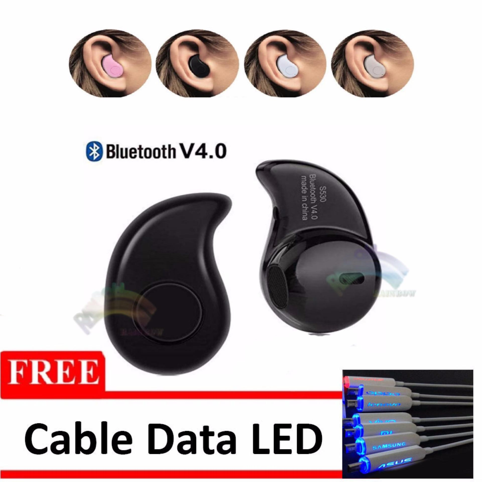 ... Rainbow Bluetooth V 4.0 Music Invisible Handsfree Bluetooth ModelS530 Kacang Mete / Micro Sport Stereo Mini ...